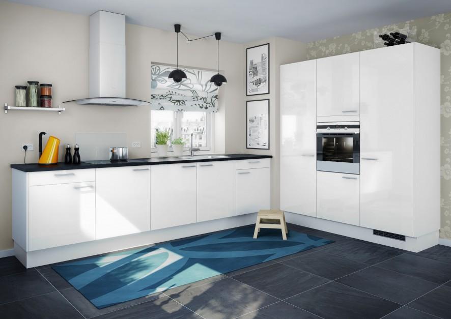 Biała, nowoczesna kuchnia z Biała kuchnia z czarnym   -> Kuchnia Biala Z Czarnym