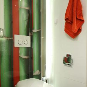 Fototapetę z soczyście zielonymi bambusami naniesiono na szkło. Jest odporna na wilgoć i łatwa do umycia. Podświetlenie diodami ukrytymi z boku ściany powiększa ją optycznie. Projekt: Katarzyna Mikulska-Sękalska. Fot. Bartosz Jarosz.