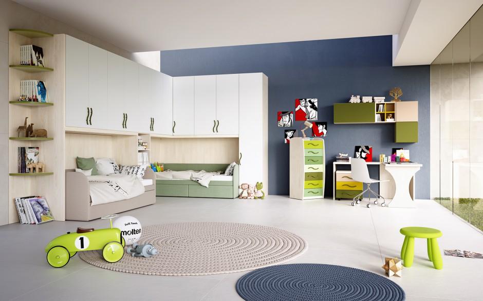 Szafa narożna z wyznaczonym miejscem na łóżka rozkładane efektownie organizuje przestrzeń w nieustawnym rogu pomieszczenie. Dzięki temu w centralnej części pokoju jest więcej miejsca do zabawy. Fot. Giessegi.