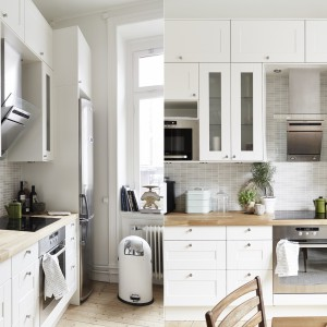 W kuchni dominuje klasyczna stylistyka, choć w nowoczesnej odsłonie. Górne szafki zdobią przeszklenia, fronty wieńczą dekoracyjne, okrągłe uchwyty, a same drzwiczki są delikatnie zdobione prostokątnym, geometrycznym rysunkiem. Fot. Jonas Berg/Stadshem.