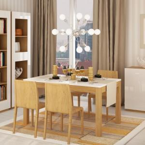 Meble z programu Focus to kwintesencja subtelnej elegancki. Białe, błyszczące fronty kontrastują z korpusami w ciepłym dekorze stone oak. Fot. Meble Wójcik, program Focus .
