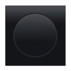 Seria Berker R.1. Ramka z czarnego szkła. Klawisz z tworzywa w czarnym połysku. Fot. Hager.