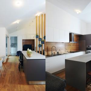 Wnętrze ocieplają wizualnie elementy utrzymane w ciepłym kolorze drewna. Ścianę nad blatem, za telewizorem w salonie oraz podłogę wykończono takim samym materiałem. Stanowi on wspólny mianownik dla całej przestrzeni dziennej. Projekt: GAO Arhitekti. Fot. Mateja Jordovič Potočnik.