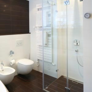 Strefa prysznica została wydzielona za pomocą szklanej kabiny. Rozwiązanie bez brodzika optycznie powiększa wnętrze. Fot. Bartosz Jarosz.