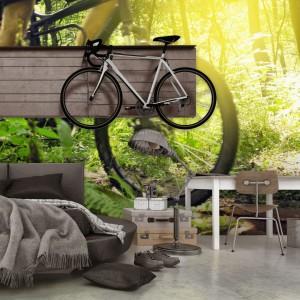 Zielona fototapeta z rowerem marki Minka to propozycja dekoracji dla miłośników kolarstwa. Wykorzystana w młodzieżowym pokoju w styku loft, wniesie do niego świeżość  i optymizm. Fot. Minka.
