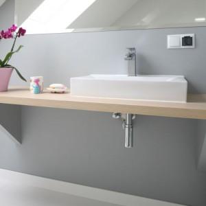 W tej łazience zdecydowano się na zastosowanie farby wodoodpornej zamiast płytek. Projekt: Karolina i Artur Urban. Fot. Bartosz Jarosz.