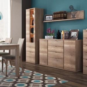 Contra to piękno i elegancja inspirowana naturalnym drewnem. Korpusy wykonane z płyty laminowanej odpornej na zarysowania, uszkodzenia, wilgoć i wysoką temperaturę. Fot. Meble Wójcik.