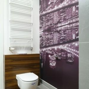 Ze względu na grzejnik umieszczony nad stelażem wc w łazience zdecydowano się na niższy stelaż z przyciskiem spłukującym umieszczonym na górnej części. Projekt: Katarzyna Merta-Korzniakow. Fot. Bartosz Jarosz.