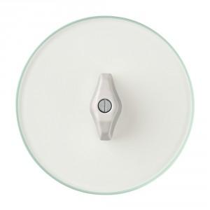 Seria Berker Glasserie. Ramka z przezroczystego szkła, pokrętło w kolorze białym. Fot. Hager.