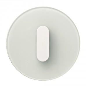 Seria Berker R.classic. Ramka z białego szkła, klawisz z tworzywa w białym połysku. Fot. Hager.