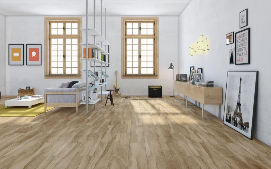 Płytki ceramiczne z kolekcji Cathay marki Aparici w naturalnym kolorze drewna. Fot. Aparici.