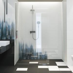 Nowoczesna aranżacja łazienki wykonana z pomocą płytek z kolekcji Sky Tower marki Opoczno. W kolekcji znajdziemy płytki w klasycznej, czarno-białej tonacji oraz dekory, które wprowadzą do wnętrza industrialny charakter. Fot. Opoczno.
