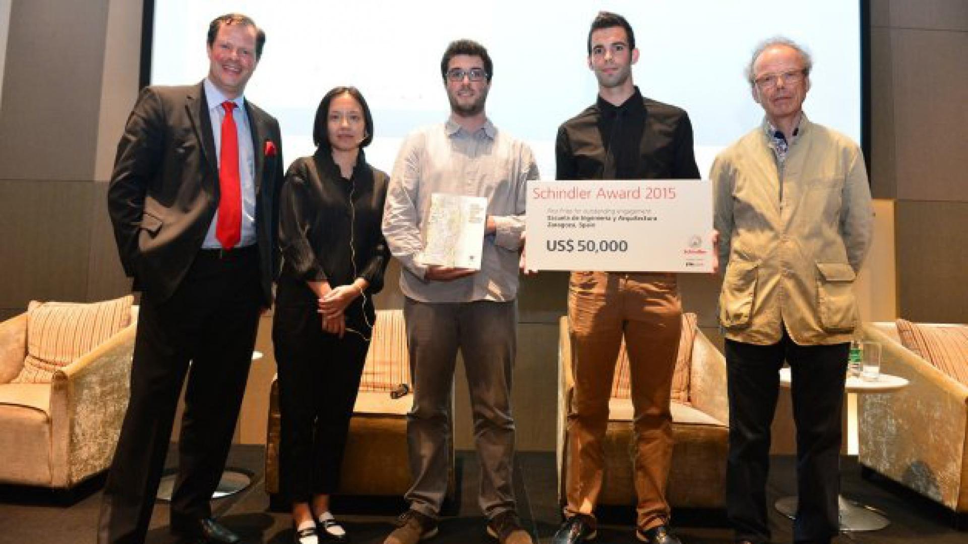 2015 rok jest pierwszym rokiem, w którym stworzona w 2003 roku nagroda Schindler Award zyskała charakter globalny dzięki partnerstwu Schindler Group z Technical University w Zurichu.W ramach preselekcji wybrano 200 projektów, a następnie wytypowano dwunastu zwycięzców z trzech najlepszych zespołów: z Francji, Chin i Hiszpanii. Fot. Schindler