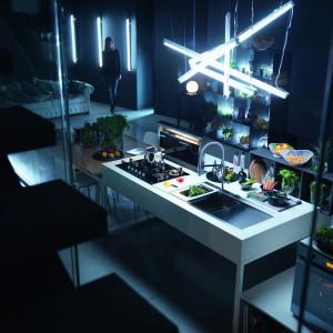 Kolekcja Crystal - piekarnik Crystal Black, zlewozmywak, okap Downdraft, plyta indukcyjna oraz bateria Lounge. Fot. Franke.