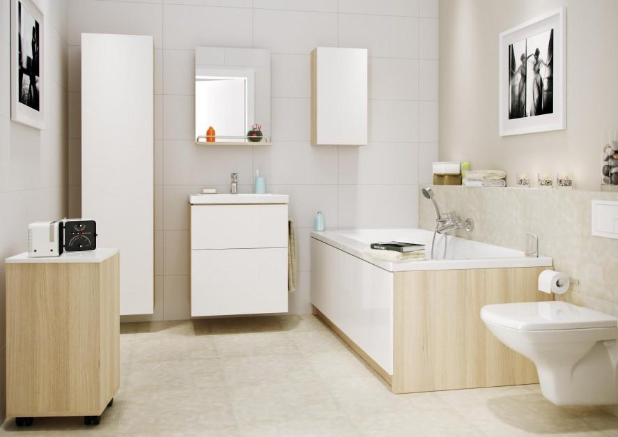 Meble z kolekcji Smart dostępne są w ofercie marki Cersanit. Doskonale sprawdzą się w łazienkach urządzanych na niewielkim metrażu. Fot. Cersanit.