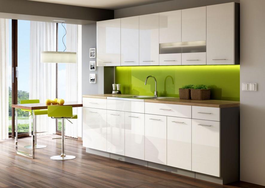 Kuchnia Singiel Luxe Blanco Aneks kuchenny   -> Kuchnia Grafitowo Limonkowa
