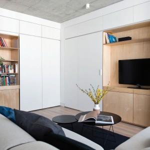 Na ścianie prostopadłej do biblioteczki urządzono kącik TV - podobnie, jak miejsce przechowywania książek - wykończonej w kolorze drewna. Projekt: Normundas Vilkas. Fot. Leonas Garbacauskas.