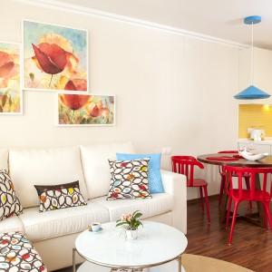 Małe, kolorowe wnętrze: 42-metrowe mieszkanie