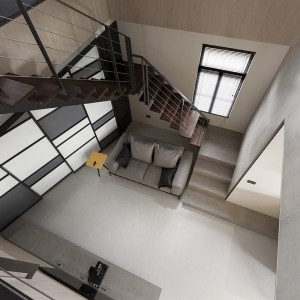 Niewielki salon otwarto na dwie kondygnacje, co powiększyło optycznie jego przestrzeń i pozwoliło na swobodną wędrówkę naturalnego światła. Projekt: Circle Huang&Gina Chiu. Fot. Hey! Cheese.