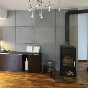 Ścianę w tym salonie wyłożono betonowymi płytami. Całość ociepla naturalne drewno na podłodze. Projekt: Marcin Lewandowicz. Fot. Bartosz Jarosz.
