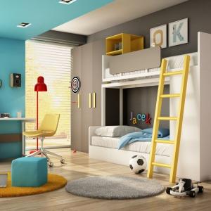 Ultranowoczesne biurko z kolekcji Multi marki Agata Meble urzeka ciekawą formą, która sprawi, że pokój dziecka będzie niezwykle oryginalny. Biały blat efektownie kontrastuje z szarym kontenerem, natomiast całość ożywiają żółte uchwyty. Fot. Agata Meble.