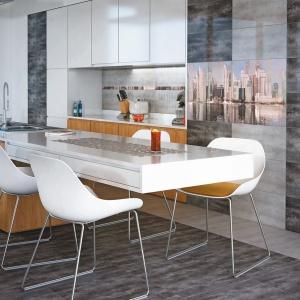 Płytki z kolekcji Konkret zbudują w kuchni atmosferę wielkomiejskiego loftu dzięki swojej barwie imitującej beton. Fot. Ceramstic.