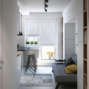 Półwysep kuchenny pełni również funkcję domowego baru, który w przyszłości stanie się centrum domowych imprez. Dodatkowo, wyznacza on obecność ciągu komunikacyjnego prowadzącego wzdłuż strefy dziennej na balkon. Projekt i wizualizacje: Geometrium Design Studio.