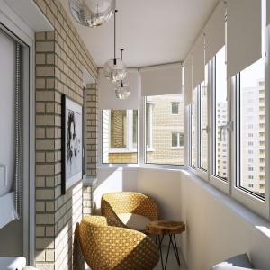 Balkon jest przedłużeniem strefy dziennej. Zabudowany oknami, stanowi cichy zakątek, w którym można usiąść i się zrelaksować. Projekt i wizualizacje: Geometrium Design Studio.