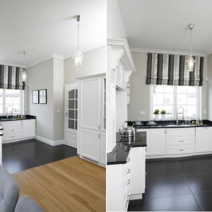 Biała zabudowa oraz jasne, szare ściany optycznie powiększają wnętrze tej kuchni. Zastosowano również inny zabieg - ściany w strefie dziennej pomalowano tym samym kolorem, co spaja pomieszczenia o dwóch funkcjach i dodatkowo dodaje kuchni przestrzenności. Projekt: Tomasz Żemojcin, Ventis, Ventana. Fot. Bartosz Jarosz.