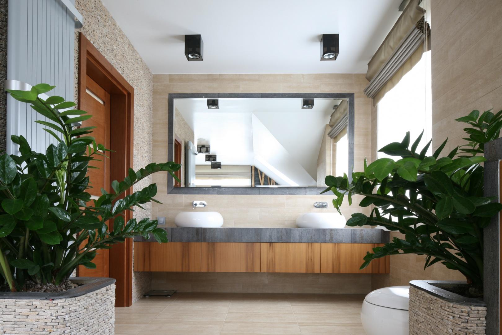 Klimat SPA zapewniają łazience rośliny zielone umieszczone w specjalnie zaprojektowanych i wykonanych  z kamienia donicach. Proj. Karolina Łuczyńska. Fot. Bartosz Jarosz.