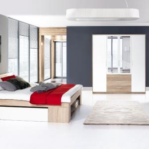 Kolekcja do sypialni Milo to nowoczesne i funkcjonalne meble. Charakterystycznym elementem kolekcji jest łóżko wyposażone w dwie wysuwane szafeczki nocne. Cena zestawu: 2.297 zł. Fot. Szynaka Meble