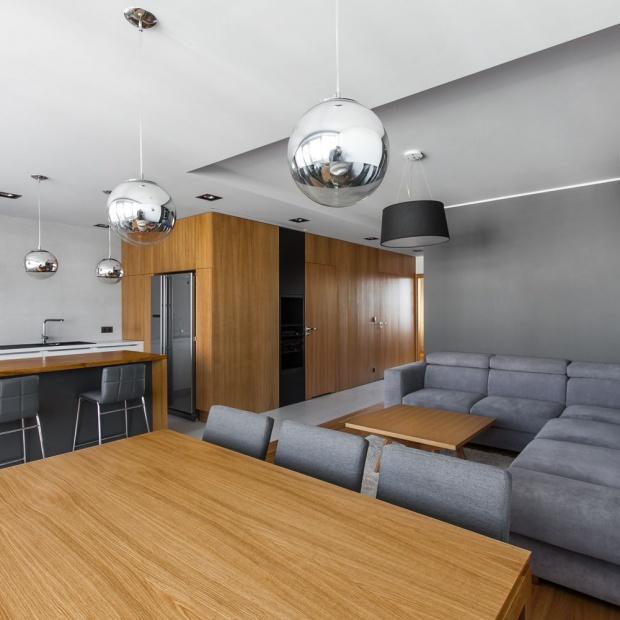 Wnętrze w szarościach i brązach: mieszkanie w Poznaniu