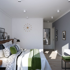 Sypialnia nie mogła zostać oddzielona od reszty mieszkania i tak samo jak salon odcienie bieli i szarości zostały przełamane ciepłem drewna oraz ożywione północną, mchową zielenią. Projekt i wizualizacje: Alexei Ivanov i Pavel Gerasimov / Studio projektowe Geometrium.