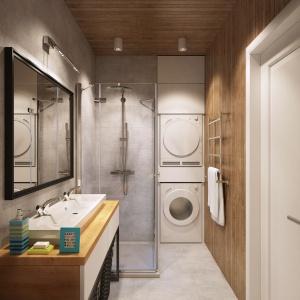 Drewno to klasyczne, skandynawskie rozwiązanie. Sprawia, że łazienka nabiera ciepła oraz przenosi w klimaty ciepłych, północnych saun. Projekt i wizualizacje: Alexei Ivanov i Pavel Gerasimov / Studio projektowe Geometrium.