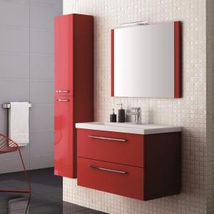 Kolekcja Jump Red marki Elita dedykowana jest wnętrzom w nowoczesnym stylu. Fronty wykonano z wodoodpornej płyty MDF w połysku. Szuflady wyposażone są w prowadnice z pełnym wysuwem. 934 zł/szafka podumywalkowa, 307 zł/lustro, Elita.