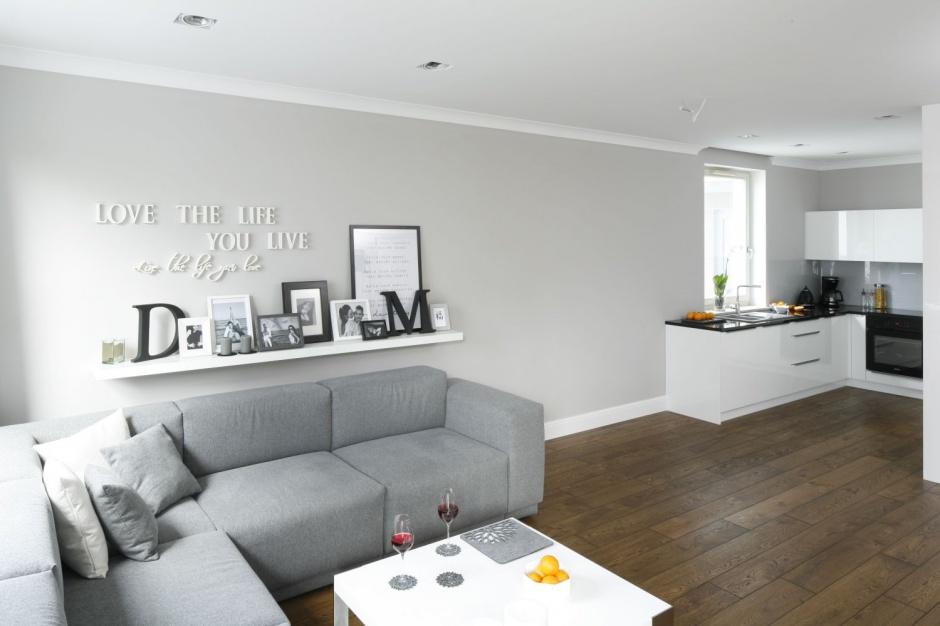 Otwarta strefa dzienna Szare wnętrze małe mieszkanie w Gdyni  Strona 3 -> Otwarta Kuchnia Male Mieszkanie