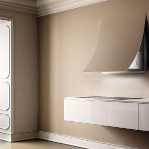 Nuage to niezwykle elegancki, przyścienny okap, przystosowany do indywidualnego wykończenia, np. kolorem takim jak ściana. Fot. Elica.