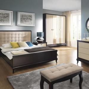 Kolekcja do sypialni Laviano to eleganckie meble w odcieniach ciemnego brązu i delikatnego beżu. Elementem dekoracyjnym jest tu pikowany zagłówek. Fot. Bydgoskie Meble.