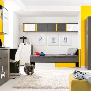 Zestaw mebli młodzieżowych Graphic, ozdobi wnętrze pokoju starszego dziecka. Pomoże też stworzyć ciekawe miejsce do prac szkolnych. Fot. Black Red White.