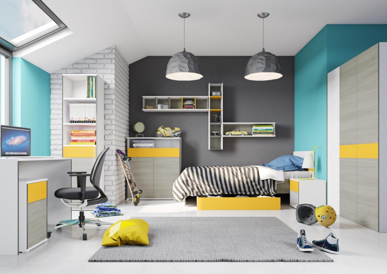 Kolekcja Young to wiele funkcjonalnych brył, które sprawdzą się w pokoju nastolatka. Żółte wstawki na frontach dodadzą aranżacji pozytywnej energii. Fot. Szynaka Meble.