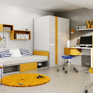 Kolekcja Yeti ma soczyste kolory, które połączono z lakierowanymi powierzchniami. Dzięki temu pokój wygląda dziecięco, ale i nowocześnie. Fot. Dig-Net.