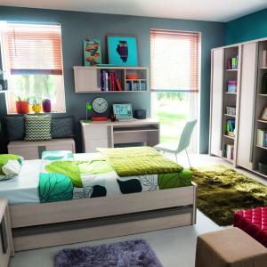 Kolekcja modułowa Caps to duża ilość mebli, dzięki którym stworzysz funkcjonalną przestrzeń dziecięcą w domu. Praktycznym elementem kolekcji jest szuflada pod łóżkiem, która daje wiele miejsca do przechowywania pościeli. Fot. BRW.