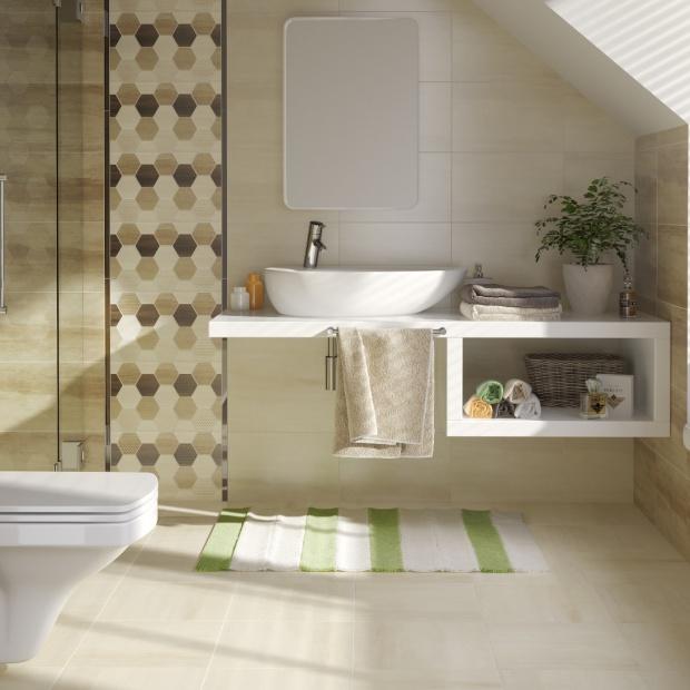 Płytki do łazienki - 15 trendowych kolekcji jak sześciokąty