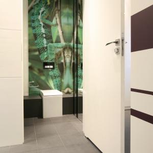 WC dla gości z fototapetą - gekona sfotografowali właściciele podczas wakacji. Projekt: Małgorzata Mikulska-Sękalska. Fot. Bartosz Jarosz.