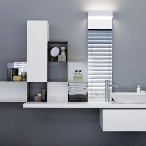 Linia wyposażenia Laufen Palomba to także modne, minimalistyczne meble do łazienki  z oferty marki Laufen. Fot. Laufen.