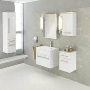W minimalistycznym wnętrzu dobrze sprawdzą się szafki łazienkowe Olex marki Defra. Fot. Defra.