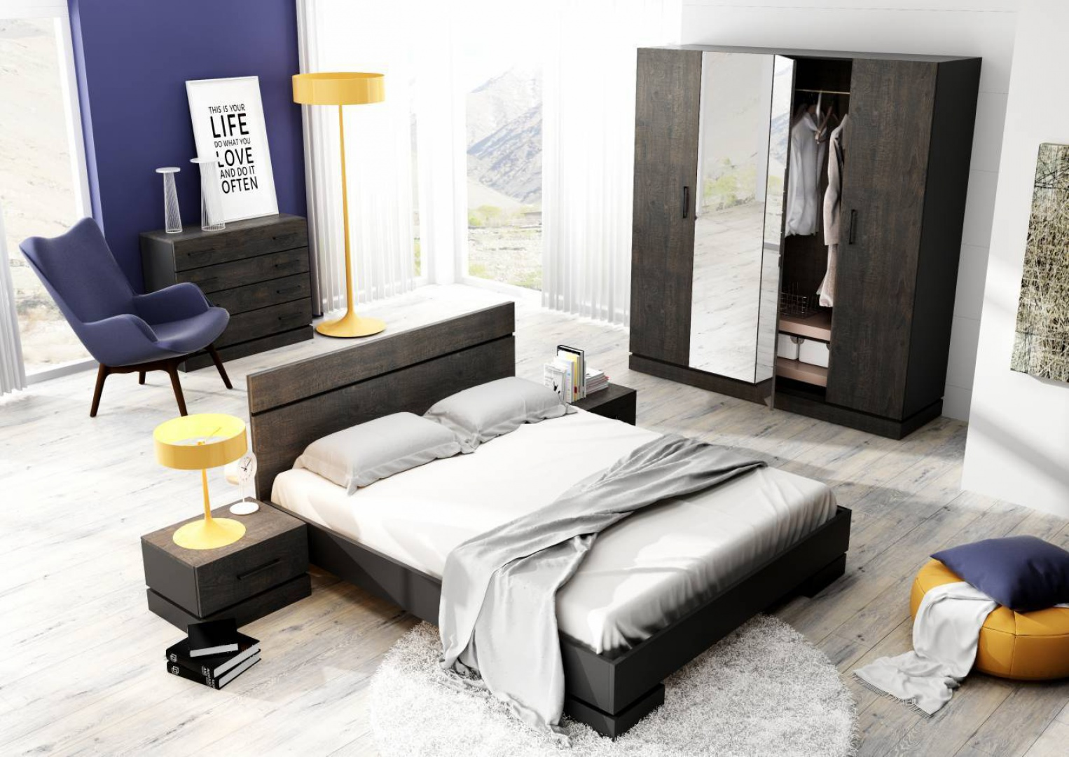 Sypialnia Sherwood to doskonała propozycja dla osób lubiących rustykalny styl. Ciemne wybarwienie mebli sprawia, że kolekcja jest nieco tajemnicza. Fot. Dignet.