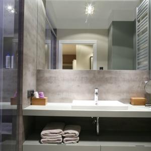 Łazienka w szarościach to eleganckie, minimalistyczne wnętrze z dużym lustrem nad umywalką. Projekt: Lucyna Kołodziejska. Fot. Bartosz Jarosz.