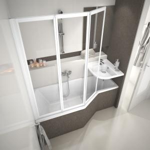 Zestaw zaprojektowany do ciasnych łazienek - koncept BeHappy firmy Ravak. Fot. Ravak.