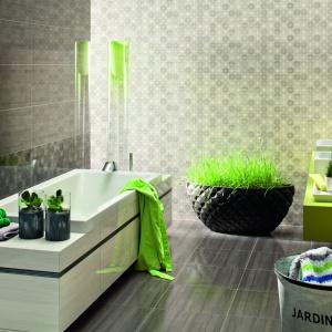 Intensywną zieleń warto łączyć z bardziej stonowanymi kolorami. W ofercie marki Tubądzin znajdziemy dekoracyjne szare płytki z linii Ashen. Fot. Tubądzin.